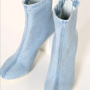 Marios Shoes - Marios Denim Ankle Boot chunky white heel